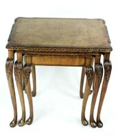 Antique Carved Walnut Nest of 3 Coffee Side Tables - FREE Shipping [5285]