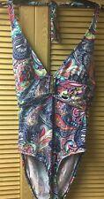 NWT Liz Claiborne Multi-Color Paisley V-Neck One-Piece Swimsuit Size 16 Ret $86