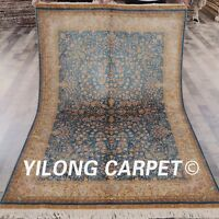Yilong 4.5'x6.5' Hand Knotted Silk Area Rug Living Room Blue Carpet Z060A