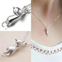 Cute Women Glamour Silver 2 Cat Charm Pendant for Chain Necklace Jewelry Nice ßß