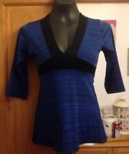 PILOT DARK BLUE & BLACK V NECK 3/4 SLEEVE TOP - SIZE 10