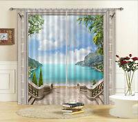 3D Sauber Meer 9587 Blockade Foto Vorhang Druckvorhang Vorhänge Stoff Fenster DE