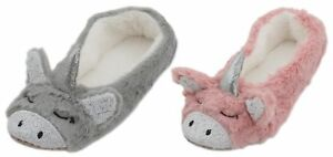 Slumberzzz Ladies 3D Plush Sequin Unicorn Ballet Slippers