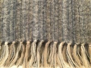 Vintage Donegal Design Ireland Mohair Wool Fringed Throw 60x54 Gray Blue Tan