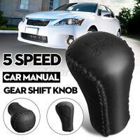 5 Speed Black Leather Stitch Gear Shift Knob Head Stick For Toyota Lexus Scion
