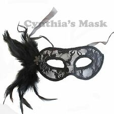 Black Lace Venetian Masquerade Mask w/Feathers BZ646B for Party & Display