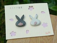 Hashioki Japanese chopstick rest Kyo Kiyomizu yaki ware USAGI rabbit set of 2