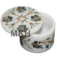 Christmas Offer Ring Box Marble Inlay Abalone Shell Trinket Boxes Vintage Mosaic