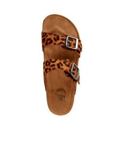 ☆TIME AND TRU WOMEN'S TWO BAND FOOTBED SLIDE S LEOPARD SANDAL SIZE 10
