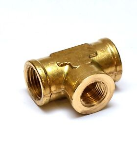 1/2 x 3/8 NPT Female Tee Brass Reducer Fitting Fuel Air Water Oil Gas FasParts