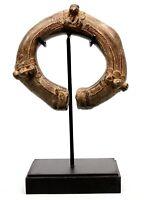 Arte Africano - Antico Bracelet Moneta IN Bronzo Baule Akan Con Base - 19 CMS