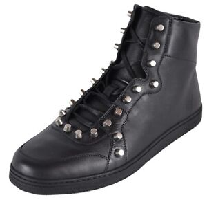 Gucci Mens Black High-Top Sneakers with Studs size 7.5 G