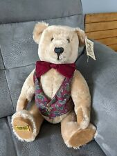 More details for rare vintage merrythought teddy bear w waistcoat bow tie vgc jointed 1991