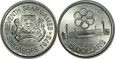 SINGAPORE 5 DOLLARS 1973  KM#10 SILVER 0.500 PROOF
