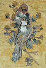 Multicolor Spring Exotic Birds standing On A Tree Branch Marble Mosaic AN504