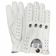 Prime Top quality real soft leather men's driving fashion retro gloves white 507