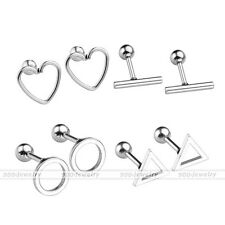 16G Silvery Steel Round Triangle Barbell Ear Studs Tragus Helix Bar Punk Earring