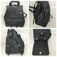 Zara Black Backpack With Seam & Bead Detailing On Flap