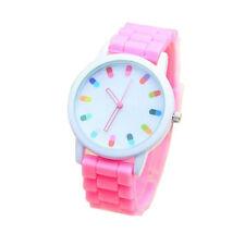 Hot Selling Fashion Candy Color Silicone Quartz Geneva Women Wrist Watch Relogio