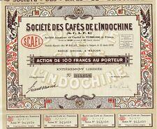 INDOCHINA CAFES  stock certificate 1926 SAIGON