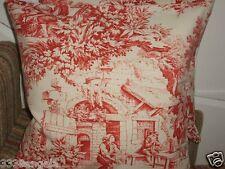 """16"""" CUSHION COVER DESIGNER STOF FESTIN TOILE DE JOUY FRENCH RED CREAM SHABBY"""