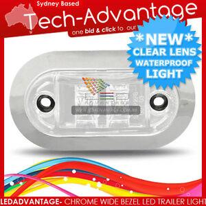 12V CHROME BEZEL COOL WHITE WATERPROOF LED MARKER/CLEARANCE/TRAILER/BOAT LIGHT