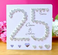 25th Silver Wedding Anniversary Card Handmade & Personalised 25 Anniversary Card
