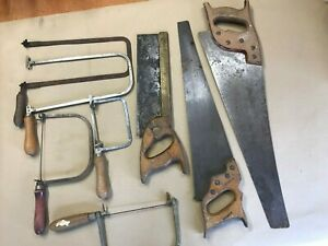 JOB LOT OF VINTAGE HAND WOOD SAWS AND COPING SAWS