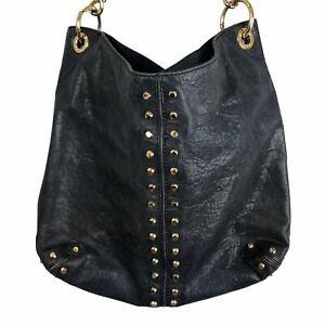 Michael Kors Uptown Astor Black Leather Large Gold Studded Hobo Bag