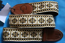 "Gretsch  2""  Woven Guitar Strap, Gold Diamond Design, Brown Ends, MPN 9220060101"
