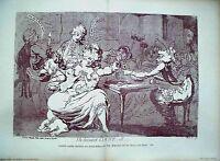EROTICA:THELNJURED COUNT....S .Doppelblatt Litho. 1908.Nach Karikatur von 1790.