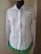 MISS OUTRAGE WESTERN SHIRT BLOUSE TOP 10-12 URBAN SPORTS LUXE TATTOO SEQUIN BLUE