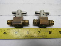 "Swagelok B-4P4T2-M2 Brass Quarter Turn Instrument Plug Valve 1/4"" Lot of 2"