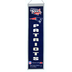 """NEW ENGLAND PATRIOTS SUPER BOWL XXXVI HERITAGE BANNER EMBROIDERED WOOL 8""""X32"""""""