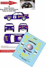 DECALS 1/24 REF 20 SUBARU IMPREZA WRX DIDIER AURIOL RALLYE SUEDE 1996 RALLY WRC