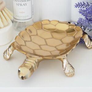 Gold Turtle Metal Catch-All Trinket Dish Hamptons Coastal Home Decor ©