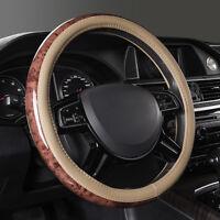 Universal Anti-slip Breathable Car Steering Wheel Cover Wood Grain Beige 38 cm