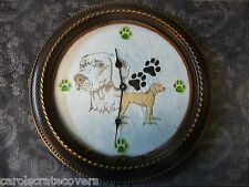Weimaraner 12 inch Embroidered Clock Handmade Glass Quartz ONE OF A KIND