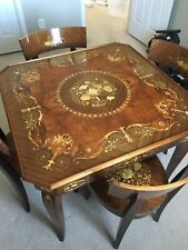 Superbe Natturno Inlaid Wood Game Table 4 Chairs Included Good Condition Made In  Italy