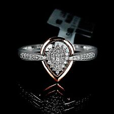New Ladies White 10K Rose Gold Genuine Real Diamond Ring Engagement Wedding