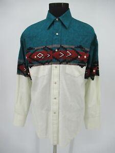 M9504 VTG Men's Wrangler Aztec Print Long-Sleeve Button-Up Western Shirt Size L