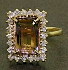 Heavy 14K gold 6.36CTW diamond/12 X 8.3mm ametrine cluster cocktail ring size 8