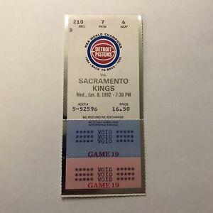 NBA Basketball Detroit Pistons Vs Sacramento Kings Game Ticket Stub Vtg Jan 1992