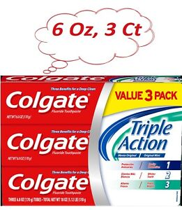 Colgate Triple Action Toothpaste, Whitening and Cavity Protection 6 Oz. 3 Pack