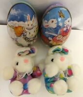 Easter Egg Collectible Tin Container Boxes With Plush Bunny Rabbits Inside