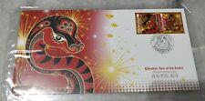 直布罗陀蛇年首日封 Zodiac Lunar New Year 2013 Snake FDC - Gibraltar 2v Stamp