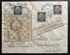 1936 Munich Germany Olympic Games Cover To Regensburg Hand Made Cachet B
