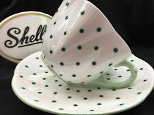 SHELLEY  DAINTY GREEN LARGE  POLKA DOTS   CUP AND  SAUCER # 13748/G - W0W!
