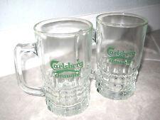 2 Vintage Carlsberg Draught Beer Glass Mugs Cup w Handles Green Imperial Pints