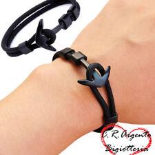 bracciale uomo ancora corda con nautica nero da stile paracord in braccialetto e